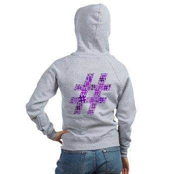 Purple Hashtag Cloud Women's Zip Hoodie