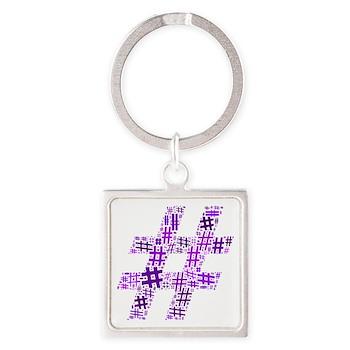 Purple Hashtag Cloud Square Keychain