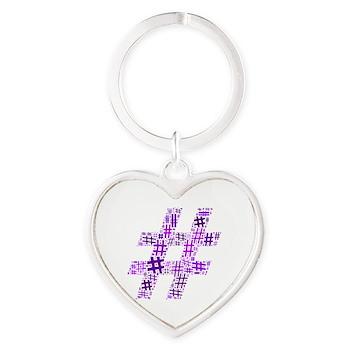 Purple Hashtag Cloud Heart Keychain