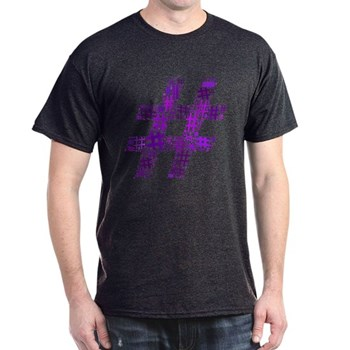 Purple Hashtag Cloud Dark T-Shirt