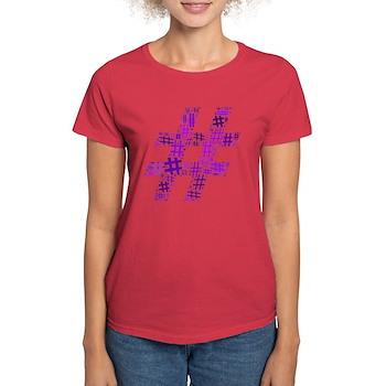 Purple Hashtag Cloud Women's Dark T-Shirt