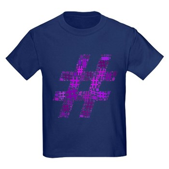 Purple Hashtag Cloud Kids Dark T-Shirt