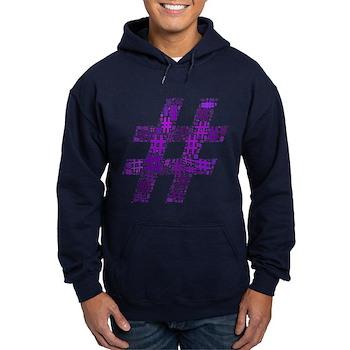 Purple Hashtag Cloud Dark Hoodie