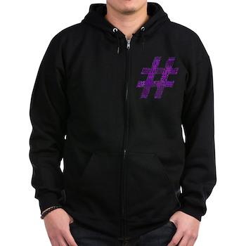 Purple Hashtag Cloud Dark Zip Hoodie