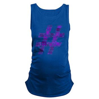 Purple Hashtag Cloud Maternity Tank Top