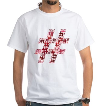 Red Hashtag Cloud White T-Shirt