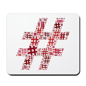 Red Hashtag Cloud Mousepad