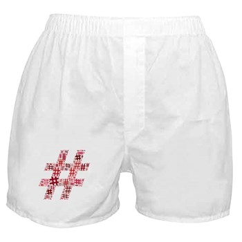 Red Hashtag Cloud Boxer Shorts