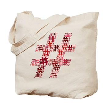 Red Hashtag Cloud Tote Bag