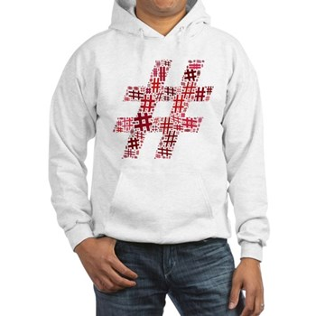 Red Hashtag Cloud Hooded Sweatshirt