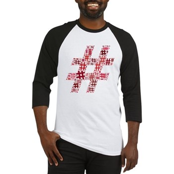 Red Hashtag Cloud Baseball Jersey