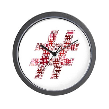 Red Hashtag Cloud Wall Clock