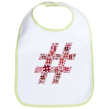 Red Hashtag Cloud Bib