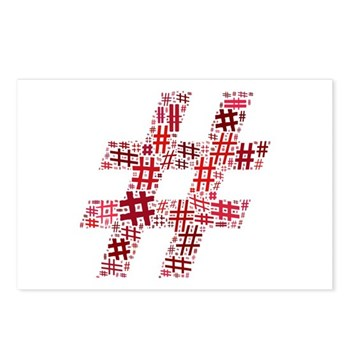 Red Hashtag Cloud Postcards (Package of 8)