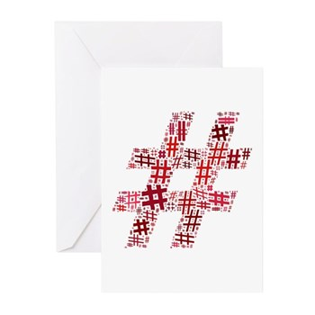 Red Hashtag Cloud Greeting Cards (10 pack)
