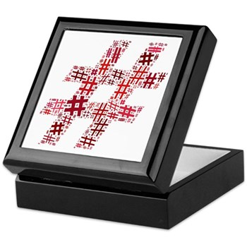 Red Hashtag Cloud Keepsake Box