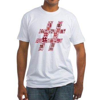 Red Hashtag Cloud Fitted T-Shirt