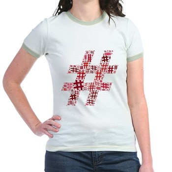 Red Hashtag Cloud Jr. Ringer T-Shirt
