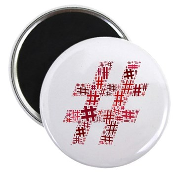 Red Hashtag Cloud Magnet