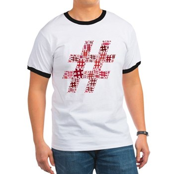 Red Hashtag Cloud Ringer T-Shirt
