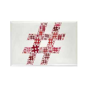 Red Hashtag Cloud Rectangle Magnet (100 pack)