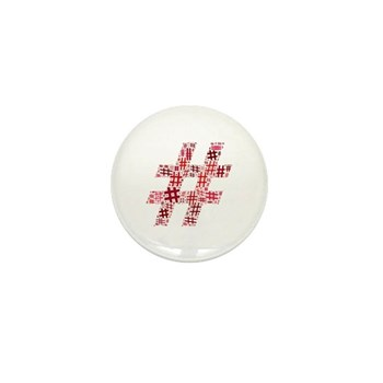 Red Hashtag Cloud Mini Button