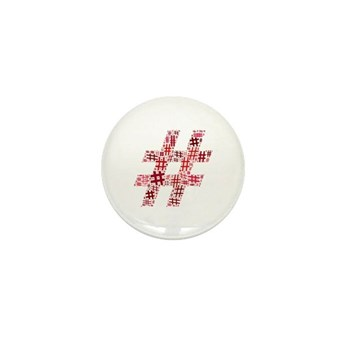 Red Hashtag Cloud Mini Button (10 pack)
