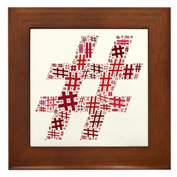 Red Hashtag Cloud Framed Tile