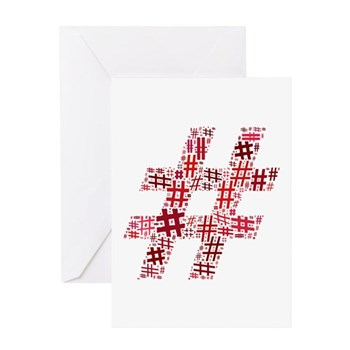 Red Hashtag Cloud Greeting Card