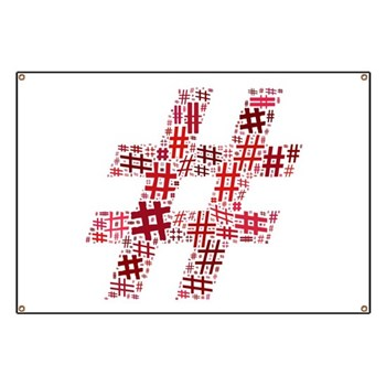 Red Hashtag Cloud Banner