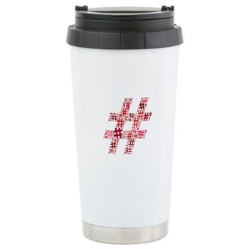 Red Hashtag Cloud Stainless Steel Travel Mug