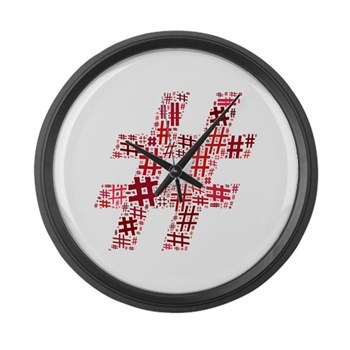 Red Hashtag Cloud Large Wall Clock