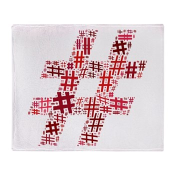 Red Hashtag Cloud Stadium Blanket