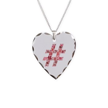 Red Hashtag Cloud Necklace Heart Charm