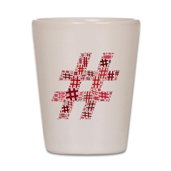 Red Hashtag Cloud Shot Glass