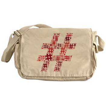 Red Hashtag Cloud Canvas Messenger Bag