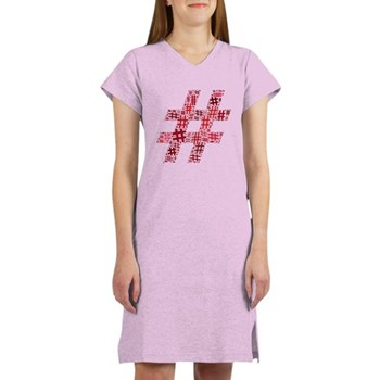 Red Hashtag Cloud Women's Nightshirt