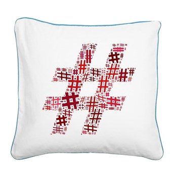 Red Hashtag Cloud Square Canvas Pillow