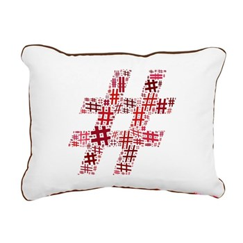 Red Hashtag Cloud Rectangular Canvas Pillow