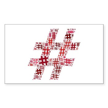 Red Hashtag Cloud Rectangle Sticker
