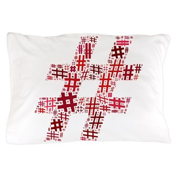 Red Hashtag Cloud Pillow Case