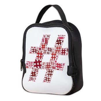 Red Hashtag Cloud Neoprene Lunch Bag