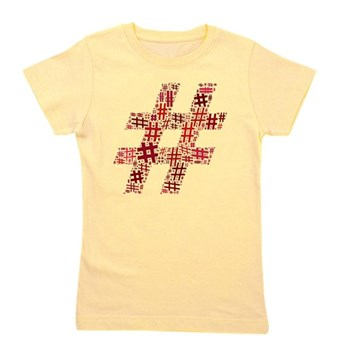 Red Hashtag Cloud Girl's Tee
