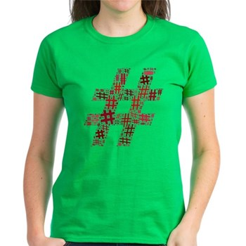 Red Hashtag Cloud Women's Dark T-Shirt