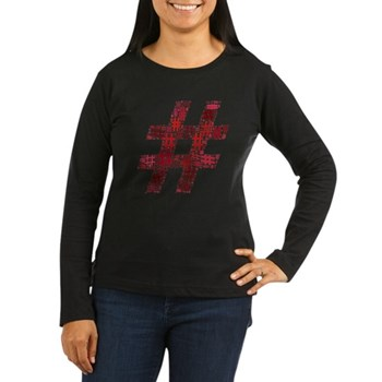 Red Hashtag Cloud Women's Dark Long Sleeve T-Shirt