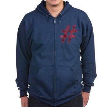 Red Hashtag Cloud Dark Zip Hoodie