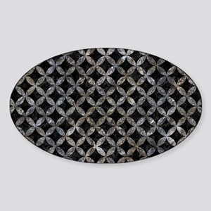 CIRCLES3 BLACK MARBLE & GRAY STONE Sticker (Oval)