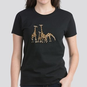 Giraffe Family Portrait in Browns and Beige T-Shir