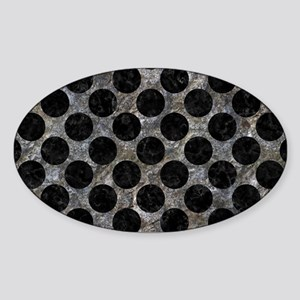 CIRCLES2 BLACK MARBLE & GRAY STONE Sticker (Oval)