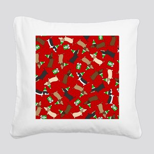 Merry Dachshunds Square Canvas Pillow